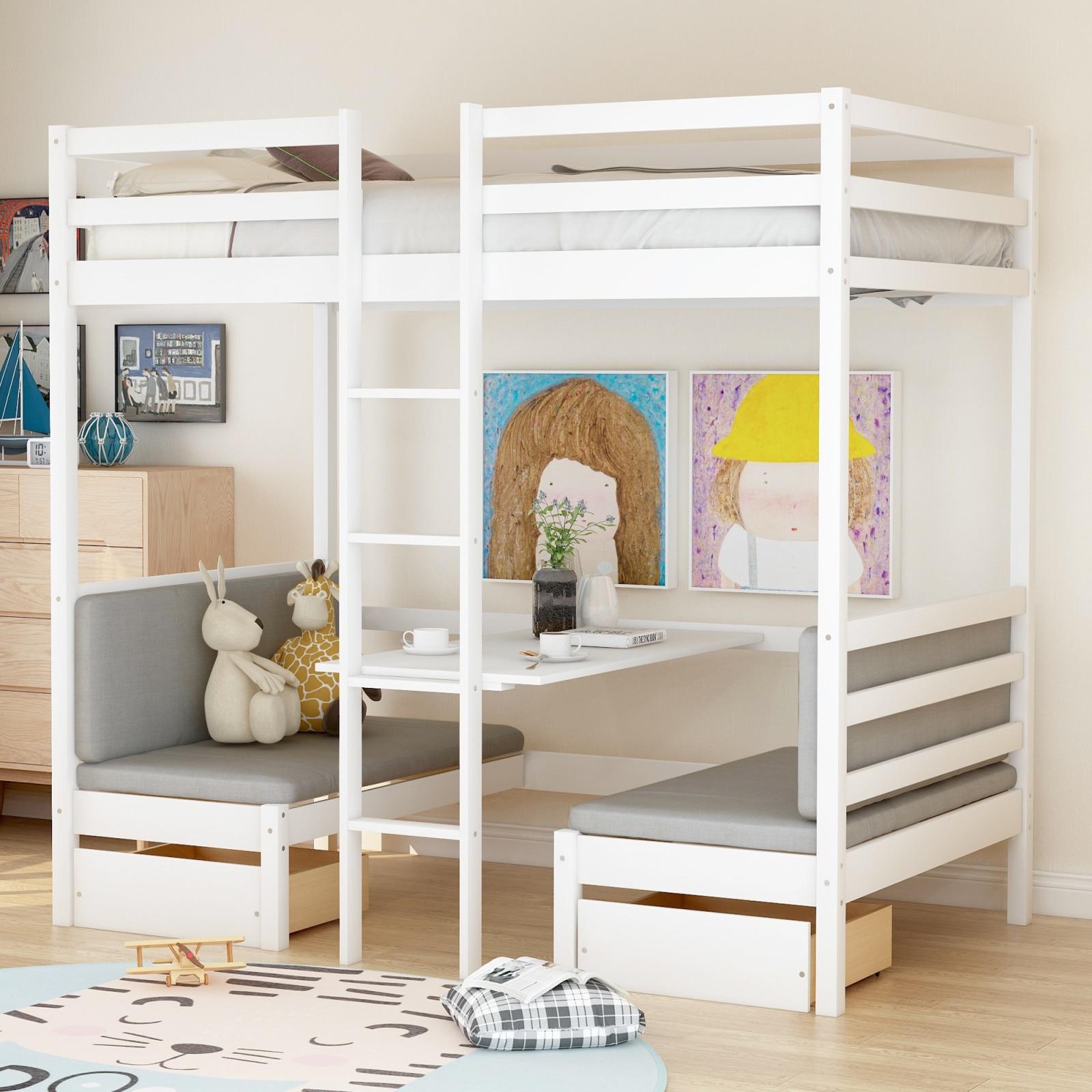 سرير علوي وظيفي (يتحول إلى سرير علوي ومكتب أسفل ، مع مجموعات وسادة) ، حجم مزدوج