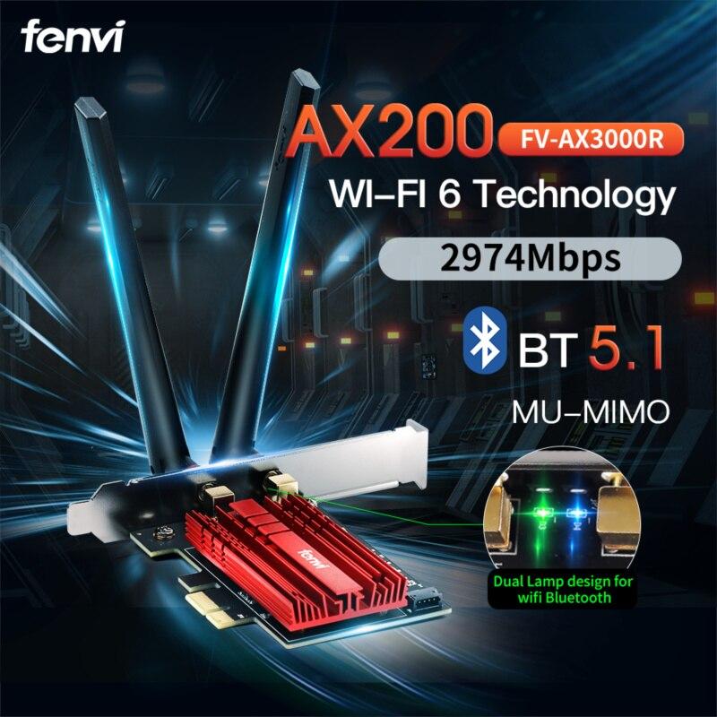Fenvi 2974Mbps WiFi 6 PCIE Wireless Adapter Bluetooth 5.1 with Intel AX200 Card Dual Band 802.11AX M.2 AX200NGW Desktop Kit PC