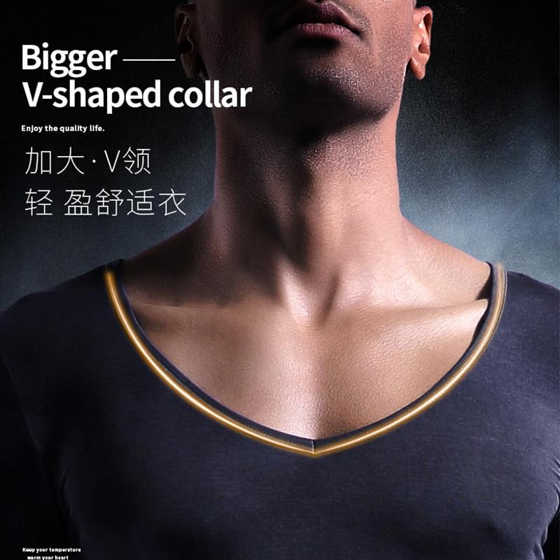 Men's pure cotton V neck warm underwear autumn clothing single low neck bottom shirt long john men t
