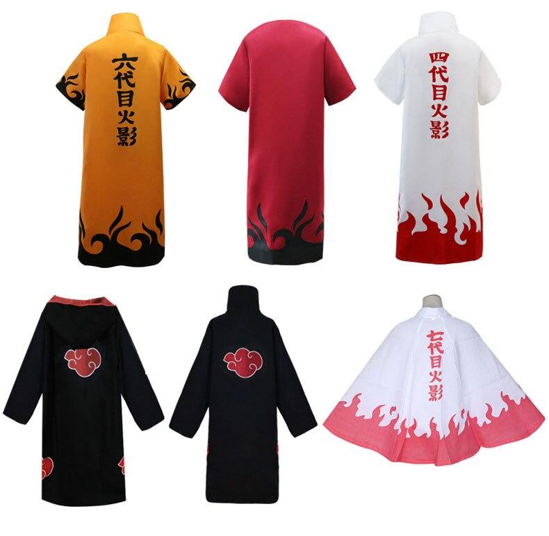 Anime trajes de cosplay de Naruto sexto séptimo Hokage capa Naruto Uzumaki cabo Yondaime Hokage, Namikaze Minato capa uniforme del Cabo