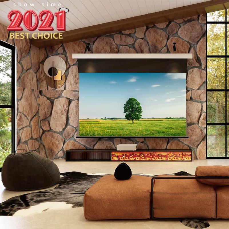 DIWELL Slimline الكهربائية التبويب مشدودة أسفل الشاشة ، 120 بوصة 16:9 السقف والجدار ، السينما البيضاء