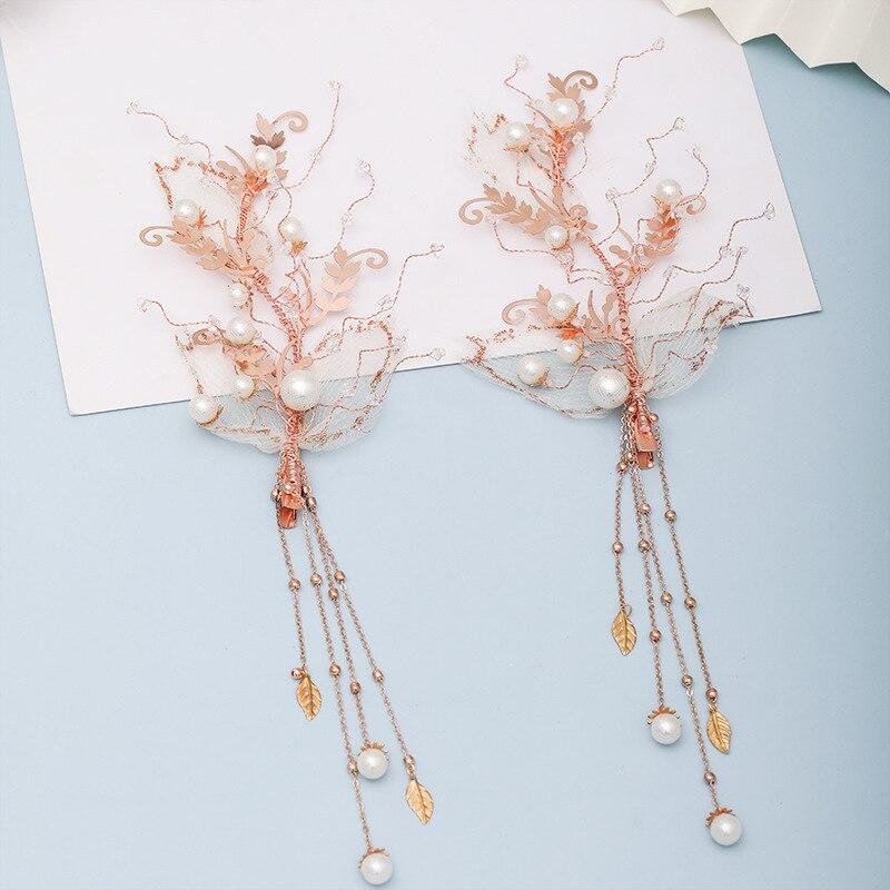1 par romântico noiva grampo de cabelo feminino artesanal gaze folha strass pérola borlas hairpin casamento jóias de cabelo acessório vl