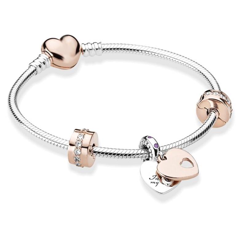 BRACE CO European Heart-shaped Pendant Charm Bracelet Fit Women's Jewellery Snake Chain Rose Gold Me