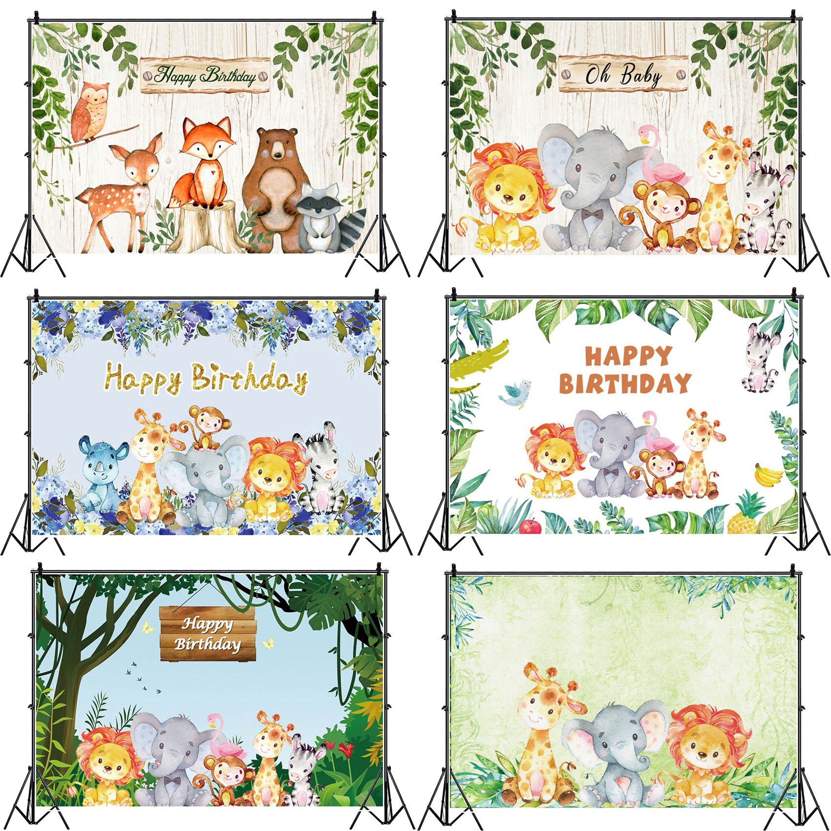 Yeele Baby Birthday Photo Backdrop Photocall Jungle Wild One Animals Personalized Photographic Background For Studio Props