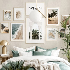 Sea Beach Agate Palm Leaf Temple in Gold Wall Art Canvas Painting Nordic Posters And Prints Wall Pictures For Living Room Decor
