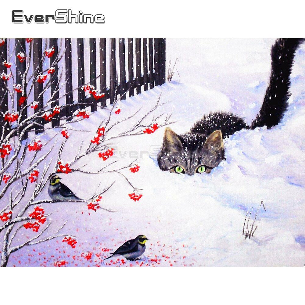 EverShine DIY 5D taladro completo Plaza gato pintado diamante foto de diamantes de imitación bordado de diamantes invernal nieve paisaje de arte