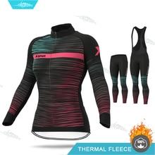 Pro Team MTB Biking Uniform 2020 Women Winter Cycling Clothing Long Sleeve Jersey Thermal Fleece Clothes 19D Gel Pad Pants Set