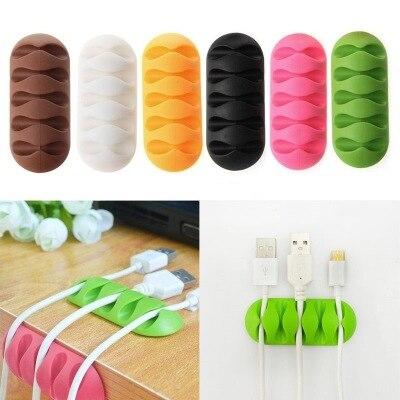 1 ud. Organizador de clips de alambre, organizador de cables de silicona para oficina, soporte de enrollador de cables para escritorio, Clip de sujeción, fijador de cables