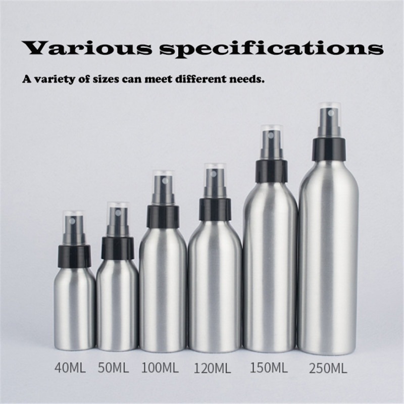 40ml/50ml/100ml Aluminum Spray Bottle Silver Portable Mini Perfume Bottles Empty Refillable Cosmetic Sprayer Atomizer 30ml 50ml 100ml 150ml portable travel black aluminum empty bottle perfume spray bottle cosmetic packaging container