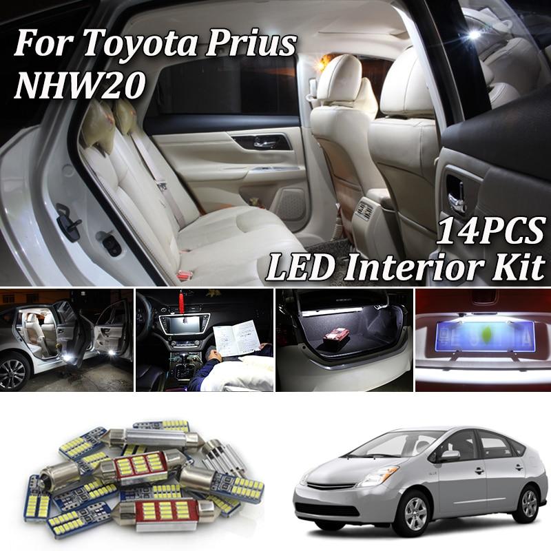 14 Uds blanco Canbus led luces interiores para automóvil Kit para Toyota Prius 20 P20 NHW20 Kit de luces interiores LED 2004-2009