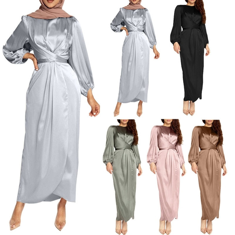 Vestido de satén árabe musulmán para mujer, Vestido largo de manga larga...