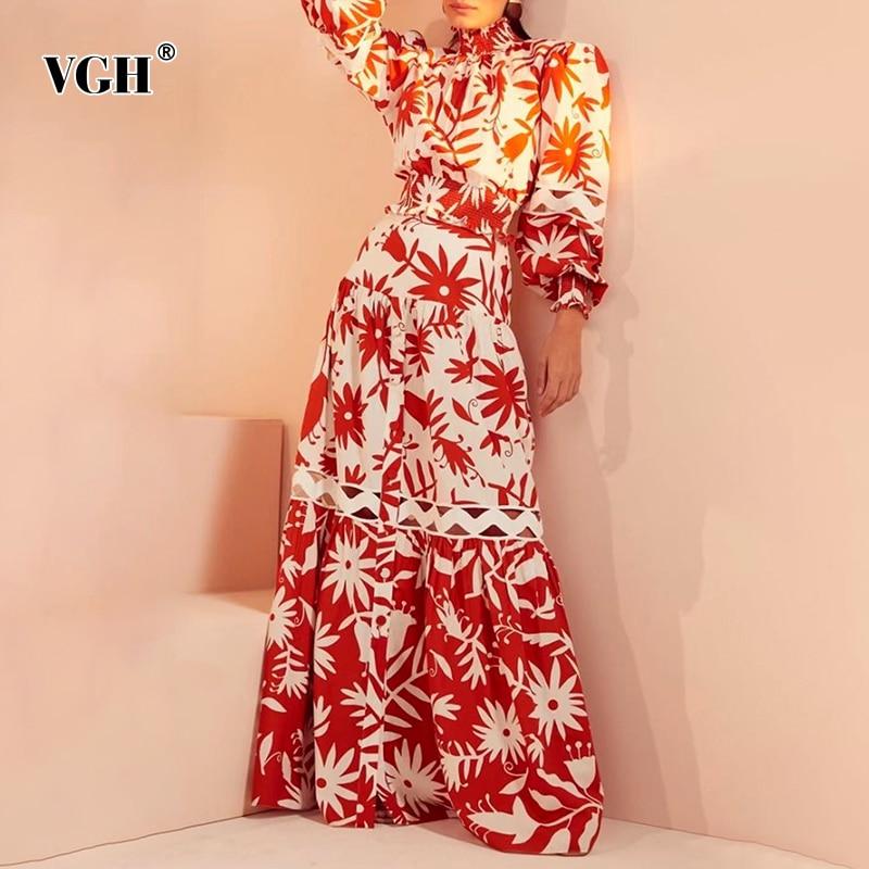 VGH طباعة عادية قطعتين مجموعة للنساء الوقوف طوق نفخة قمصان طويلة الأكمام عالية الخصر تنانير طويلة الجوف خارج مجموعات الإناث 2021