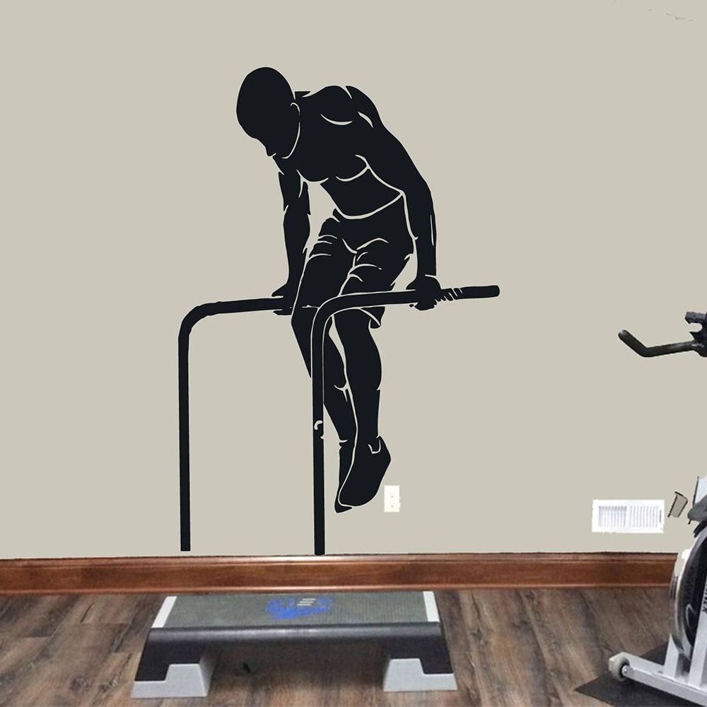 Muscle Workout Wand Aufkleber Pull Up Übung Sport Tür Fenster Vinyl Aufkleber Training Zimmer Stadion Gym Innen Dekoration E270