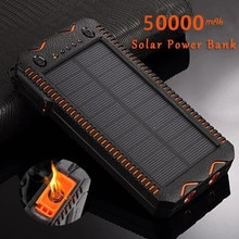 50000mAh Solar Power Bank High-Capacity Phone Charging Power Bank with Cigarette Lighter Double USB