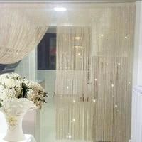 shiny silver line string curtain fashion valance living room divider wedding diy home decoration 19 color window door