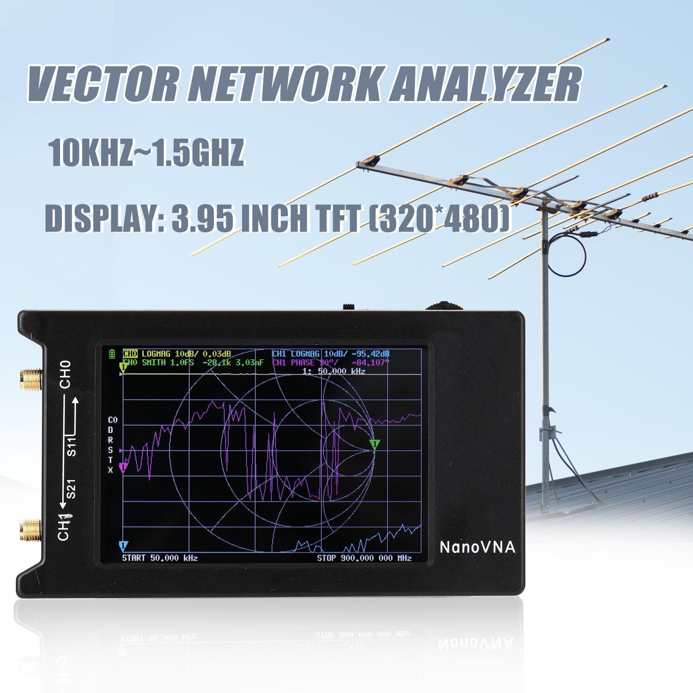 10KHz-1.5GHz المحمولة المحمولة ناقلات شبكة محلل شاشة ديجيتال شاشة لمس على المدى القصير MF HF VHF UHF هوائي محلل