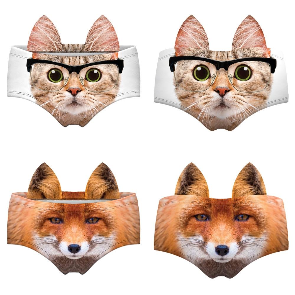 3D забавное нижнее белье с животным принтом котенка, собаки, тигра, лисы, леопарда, женские сексуальные трусики, трусы, нижнее белье, кавайные трусики