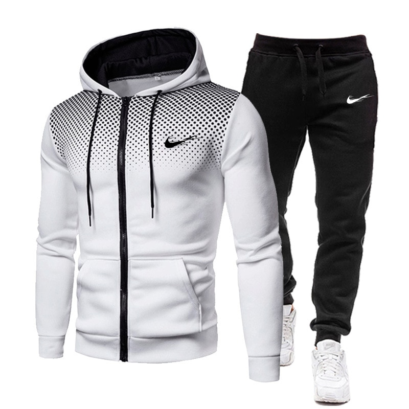 2021New Men's Football Sets Zipper Hoodie+Pants Two Pieces Casual Tracksuit Male Sportswear Gym Bran