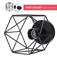 high quality iron pendant light shade ceiling industrial geometric wire cage lampshade lamp for bedroom living room