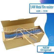 100pcs 1/4W Metal film resistor 1% 43R ~ 91R 43R 47R 51R 56R 62R 75R 82R 91R