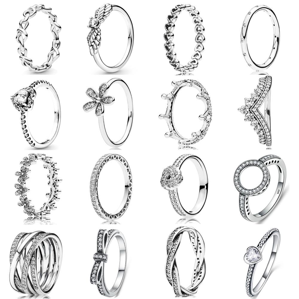 Аутентичные-925-стерлингового-серебра-тиара-корона-принцессы-Сверкающее-Сердце-Любви-cz-Пан-кольцо-для-женщин-обручальные-кольца-ювелирные-и
