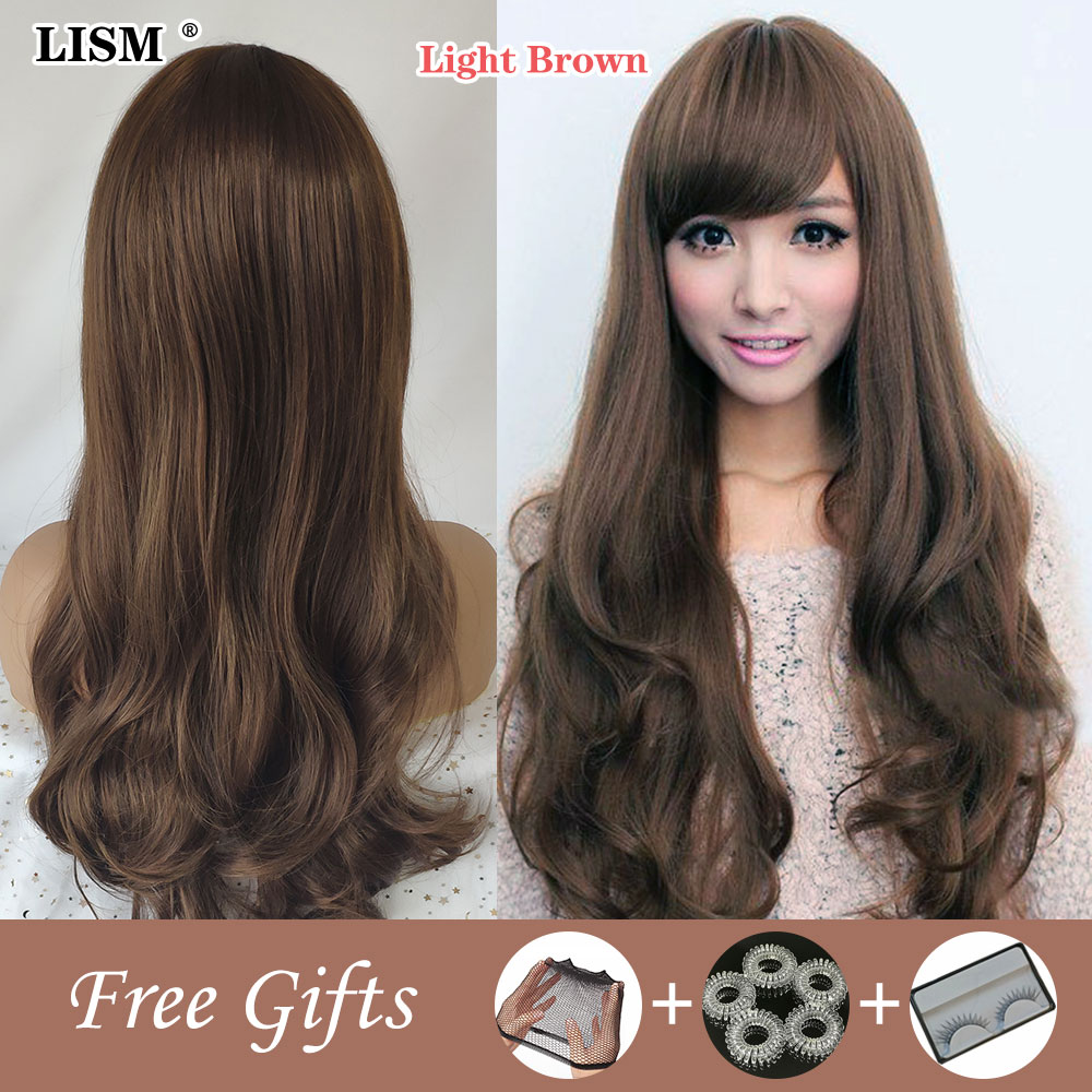 New Synthetic Long Wig Pelucas De Mujer Platinum Blonde Multi Colored Toupee Hair for Women Good Quality Brown Natural Wave