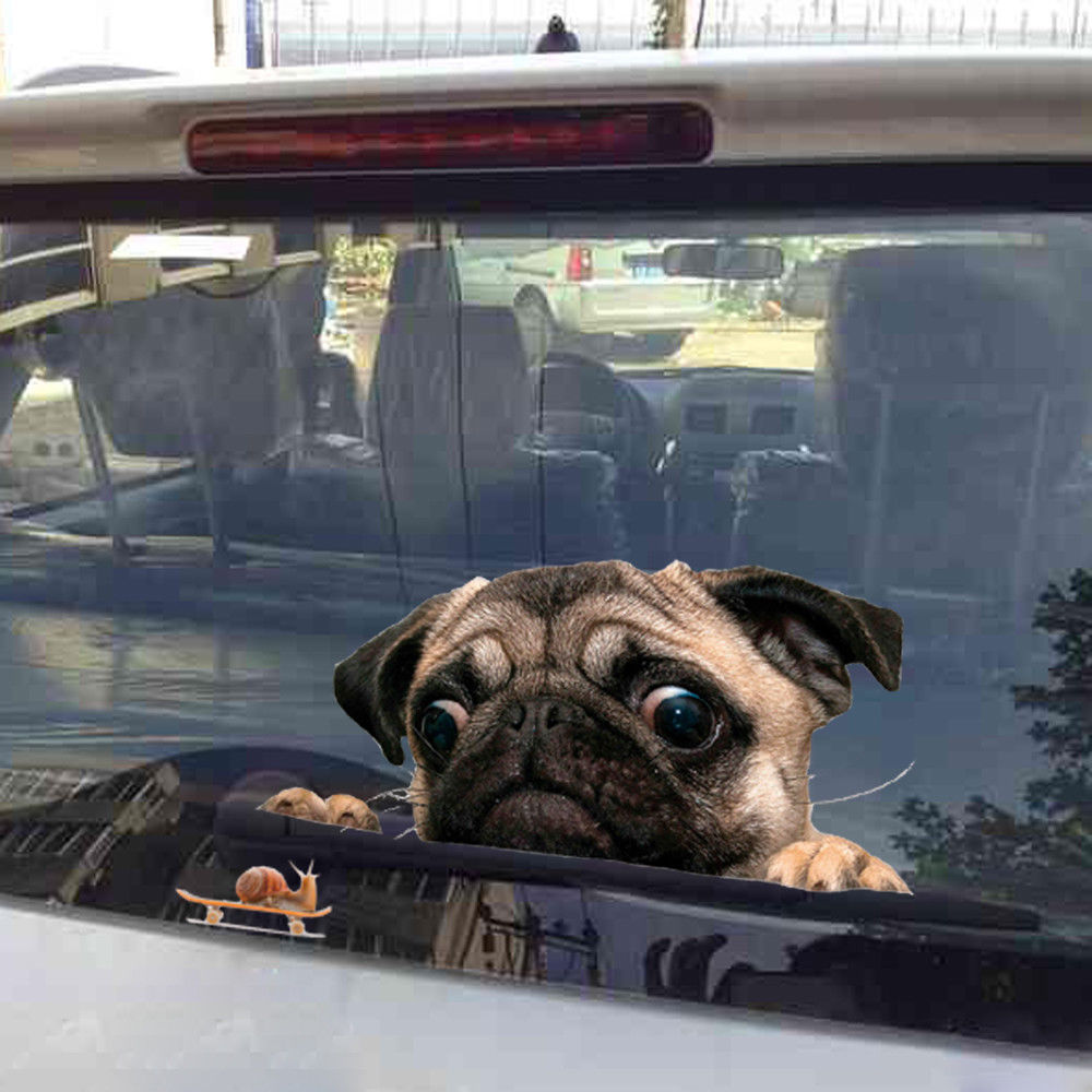 3D Funny Pug Dog Watch Snail PVC Car Window Decal Waterproof Cute Pet Puppy Vehicle Home Decorative Sticker Auto Accessory
