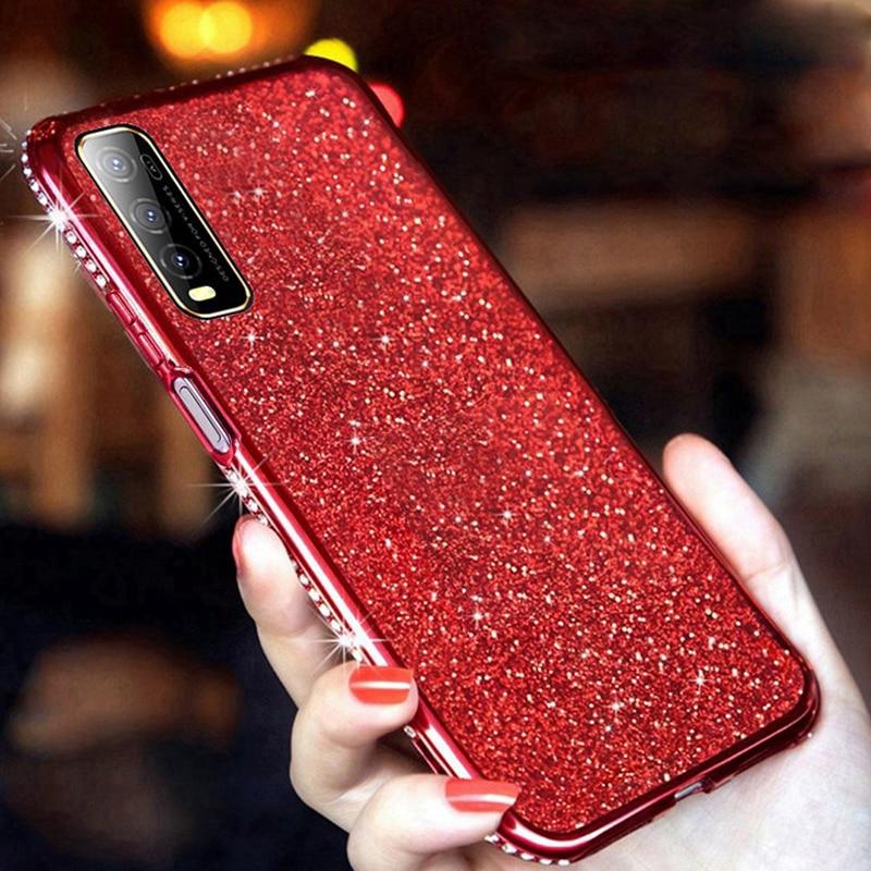 Moda bling caso para samsung s7 s8 s9 s10 s20 plus s20ultra nota 8 9 10 pro diamante moldura strass flash glitter telefone capa