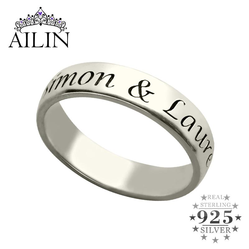 خاتم من الفضة الإسترليني مع اسم/رسالة محفورة ، خاتم بالأحرف الأولى ، مجوهرات حب ، هدية زفاف