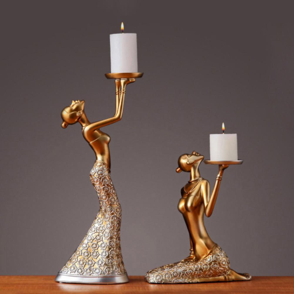 1 par de portavelas de resina Vintage abstracto escultura de dama candelabro San Valentín hogar desmaleza accesorios de decoración para fiestas