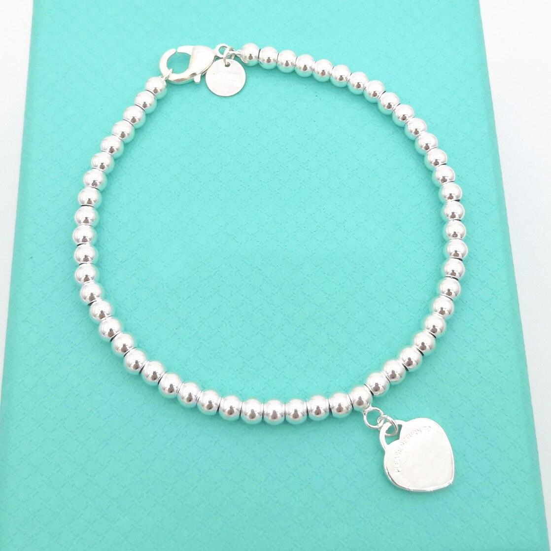 1 1 pulsera de plata de ley 925 clásica con forma de corazón para mujer, pulsera de bolas de 4mm, joyería para regalo de vacaciones