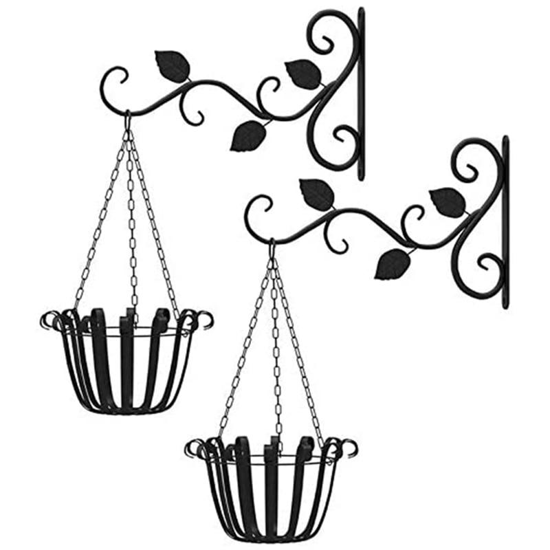 2 шт висячая корзина кронштейны крюк для растений металлический открытый сад сверхмощный настенный крюк для фонарей кронштейн из кованого ...