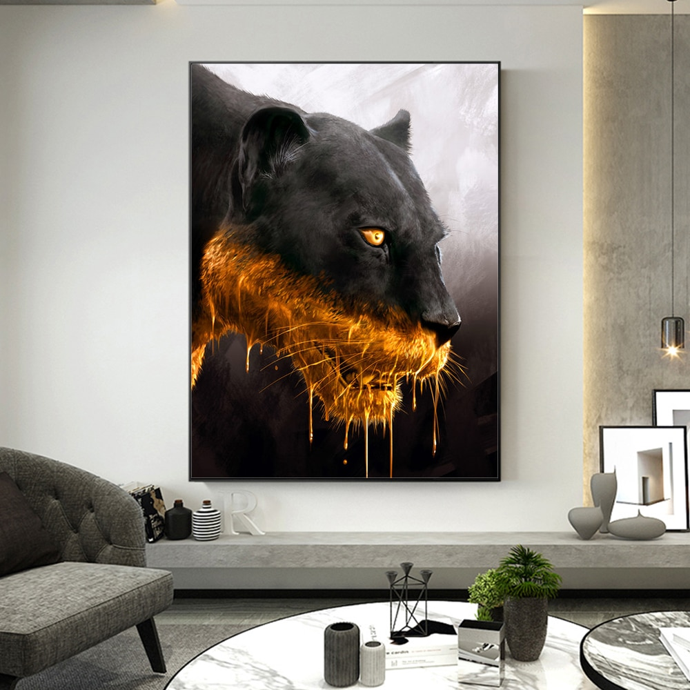 Fashion Abstract Animal Canvas Painting  Black Panther Posters Wall Art Prints for Living Room Decoration Bedroom Decor Pictures