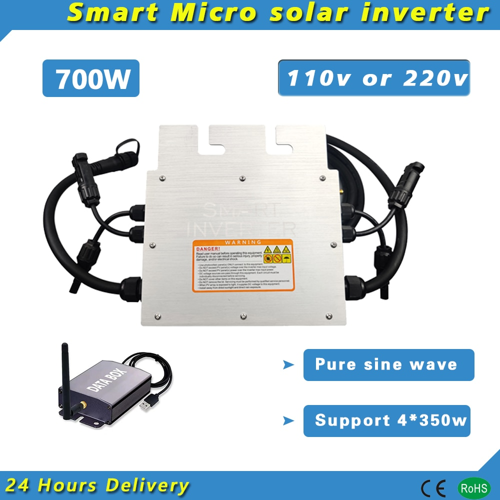 700 واط على شبكة التعادل Inversor مايكرو العاكس للطاقة الشمسية DC18V-50V PV المدخلات 110 فولت أو 220 فولت نقية شرط موجة Wifi مراقب