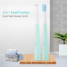 2in1 escova de dentes elétrica alta frequência kit limpeza vibração cálculo tártaro remoção dentes clareamento dental oral care