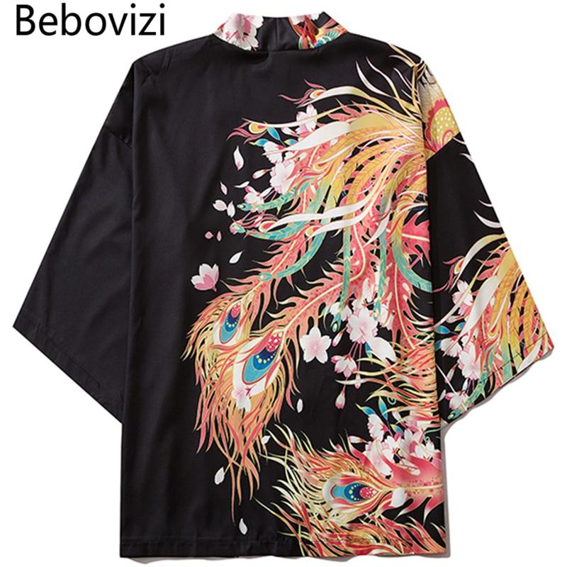 Bebovizi Fashion Japanese Style Golden Phoenix Print Kimono Women Cardigan Yukata Streetwear Men Tradition Asian Clothing