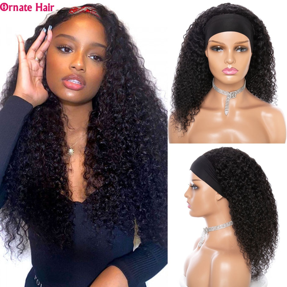 Mongolian Kinky Curly Wig Headband Wig Curly Human Hair Wigs for Black Women Ornate Hair Natural Color Curly Wig 150% Density