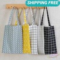 swt eco friendly folding portable grocery tote bags women 5 colors shopper bag plaid linen cotton canvas shopping shoulder bags