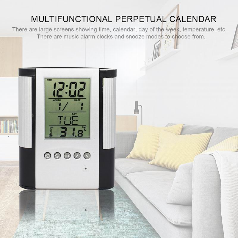 Practical Multifunctional Office Temperature Alarm Clock Calendar Timer LCD Desk Pen Holder Pencil Container new abs multi functions digital desk pen pencil holder display lcd alarm clock thermometer