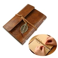 tinksky vintage style leaf leaves pattern pu cover loose leaf string bound blank notebook notepad travel journal diary jotter