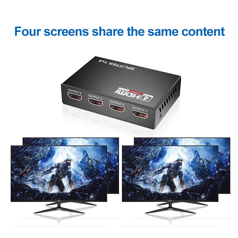 HDMI Splitter HDCP 4K 1x4 1 in 4 out Power Signal Amplifier 1080P 3D 1x4 Audio Spliter HDMI Converter 1x4 HDMI Adapter enlarge