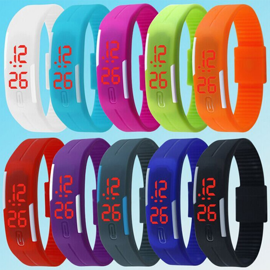 Men's Sport Watch 10 Colors  Square LED Student Adult Couple Electronic Digital Watch Electronic Clo
