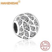100% 925 Sterling Silver Sparkling Pattern Charm beads Fits Original Pandora Charm Bracelets Round DIY Jewelry Making For Women