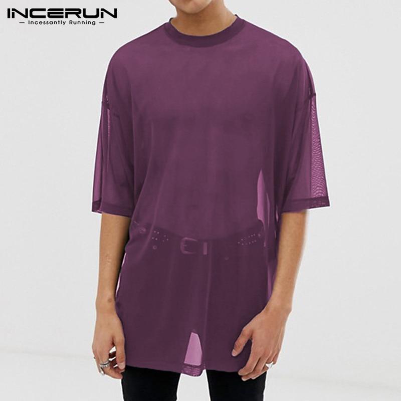 Мужская Сетчатая футболка, прозрачная Повседневная футболка с коротким рукавом и круглым вырезом, дышащая уличная мода 2020, однотонные футб...