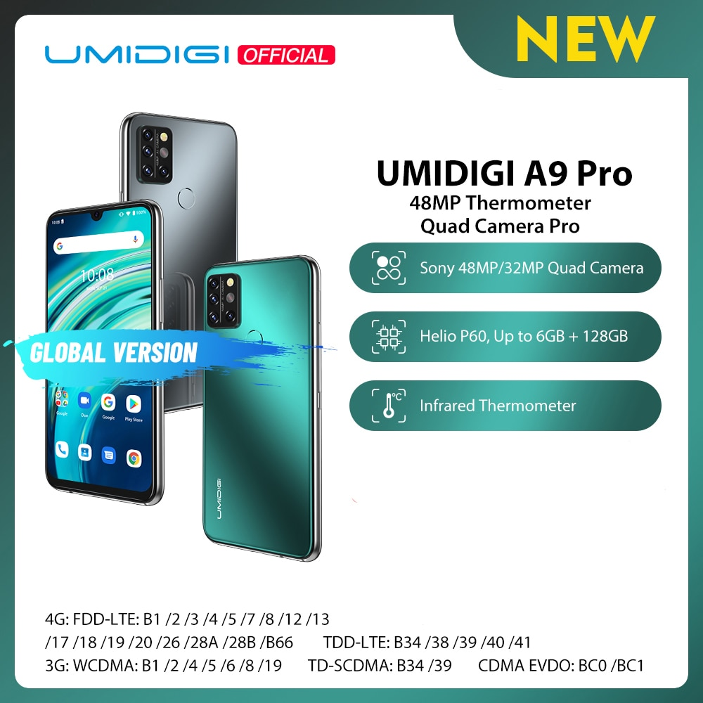 UMIDIGI A9 Pro SmartPhone Unlocked 32/48MP Quad Camera 24MP Selfie Camera 4GB 64GB/6GB 128GB Helio P60 6.3'' FHD+ Global Version