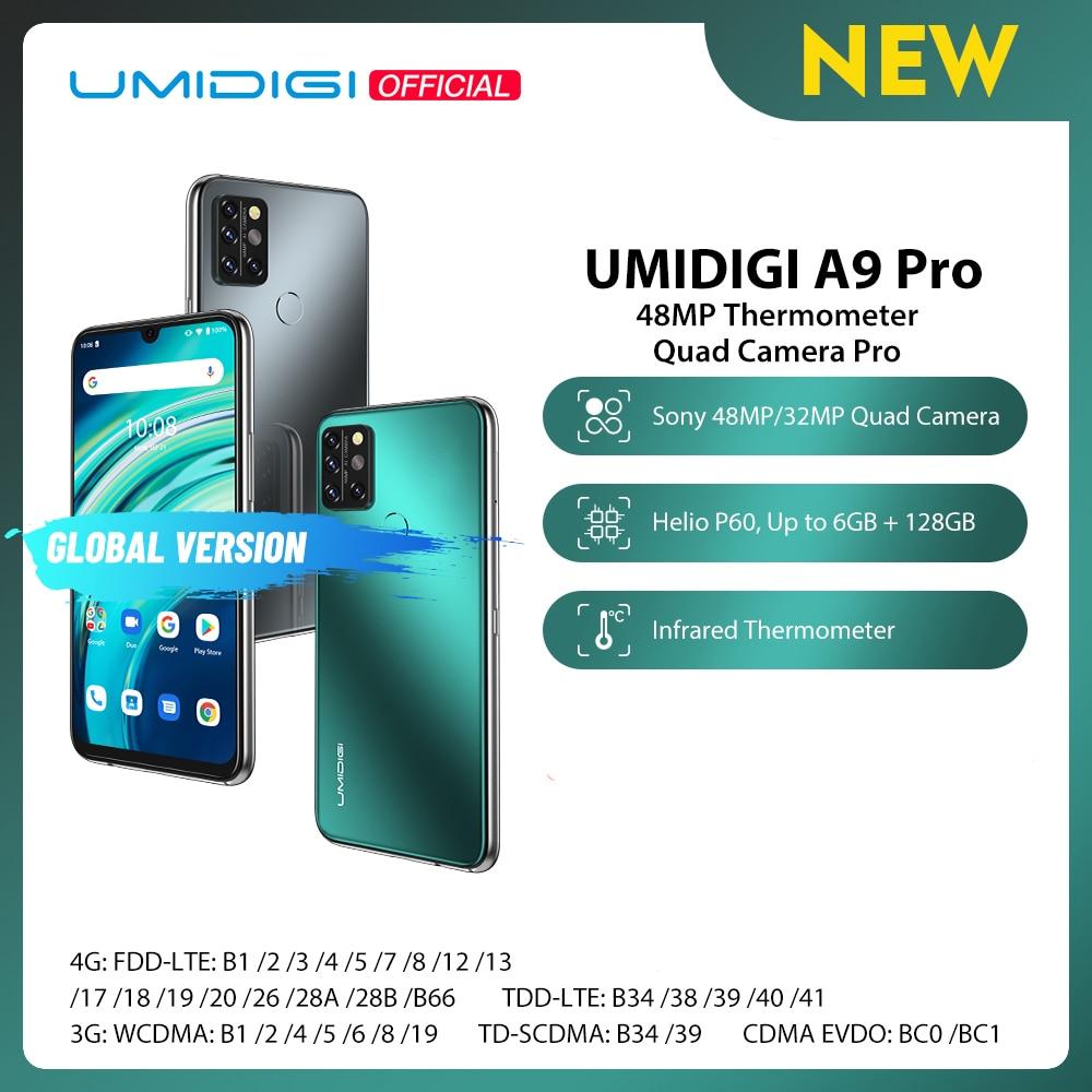 UMIDIGI A9 Pro SmartPhone Unlocked 32/48MP Quad Camera 24MP Selfie Camera 4GB 64GB/6GB 128GB Helio P60 6.3