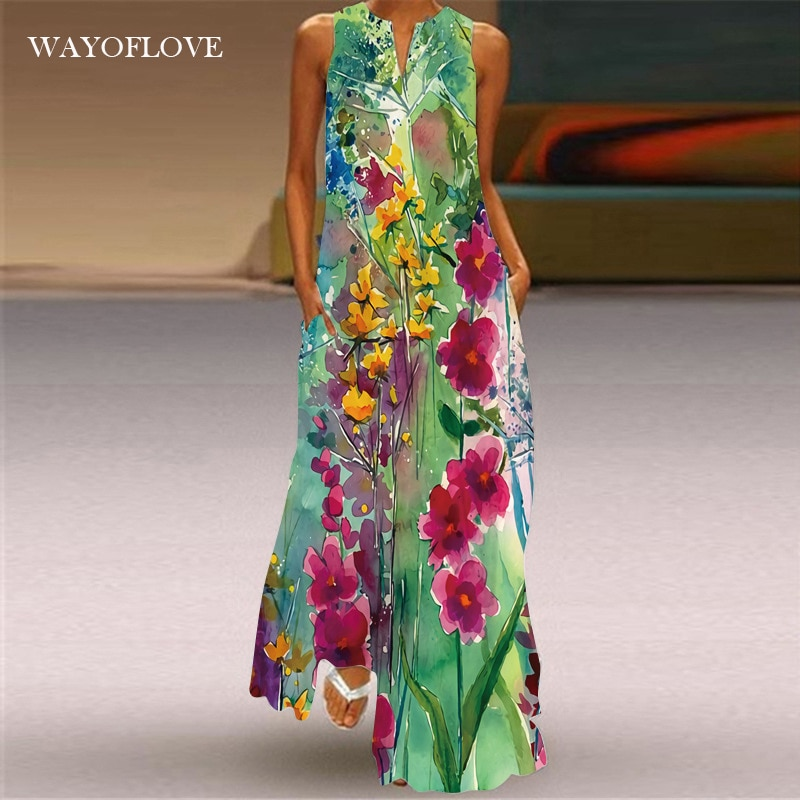 WAYOFLOVE Floral Print Green Dress Women 2021 Long Casual Plus Size Dresses Summer Woman Sleeveless