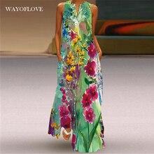 WAYOFLOVE Floral Print Green Dress Women 2021 Long Casual Plus Size Dresses Summer Woman Sleeveless