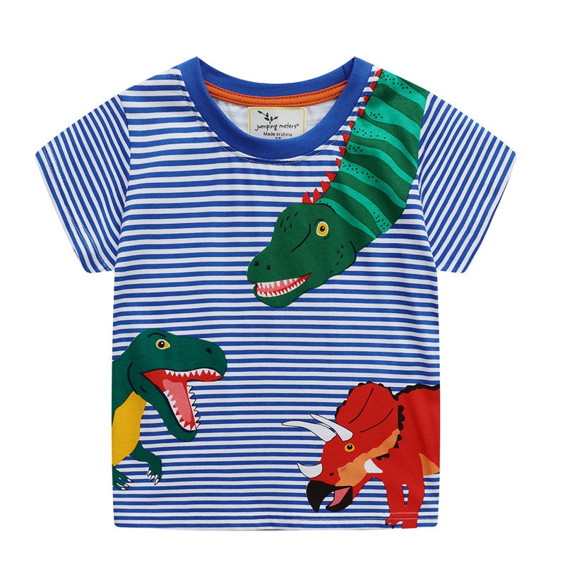 Summer Cotton Dinosaur Applique Cute Boys Girls T shirts Short Sleeve Baby Casual Tees Kids Stripe Tops Clothing
