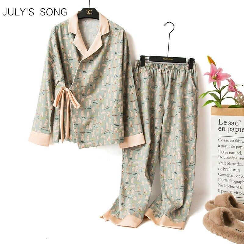 JULY'S أغنية لطيف الدب منامة مجموعة 2 قطعة النساء الكرتون كيمونو الطباعة الربيع الخريف السراويل ملابس خاصة منامة Homewear